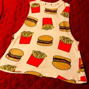 Tops - Adorable Hamburger French Fries muscle top